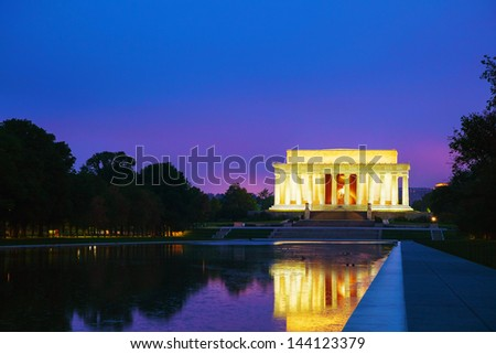 The Abraham Lincoln Memorial in Washington, DC in the evening - stock photo
