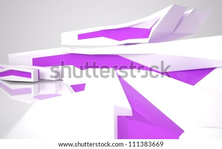 The abstract architecture of the building with purple windows