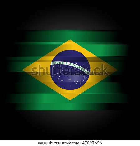 The Abstract Brazilian Flag on black background - stock photo