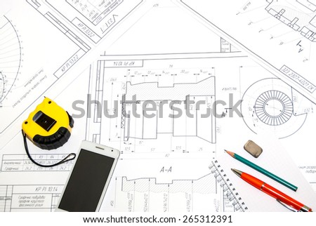 construction blueprints tools tablet top view stock photo