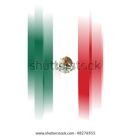 The Abstract Flag of Mexico on white background - stock photo