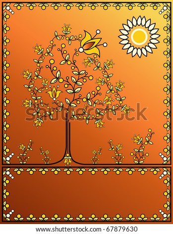 The abstract golden tree from colors and berries against with the sun. Raster. - stock photo