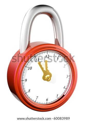 The abstract image of the lock with a clock-face