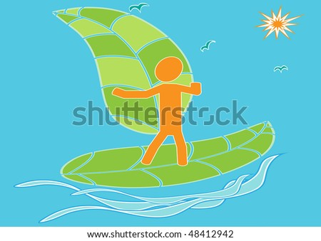The abstract image of the teenager on surfing