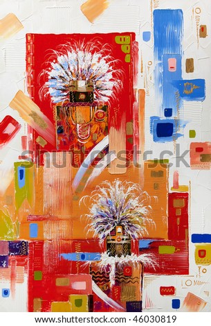 The abstract picture drawn by oil on a canvas - stock photo