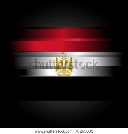 The Abstract raster Egypt Flag on black background - stock photo