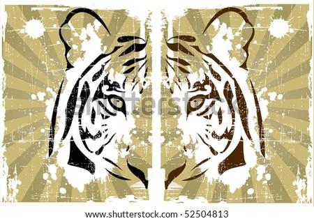 the abstract tiger head (vector version in portfolio) - stock photo
