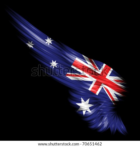 The Abstract wing with Australia flag on black background