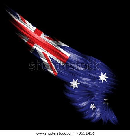 The Abstract wing with Australian flag on black background - stock photo