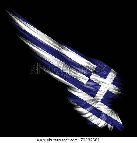 The Abstract wing with Greece flag on black background - stock photo