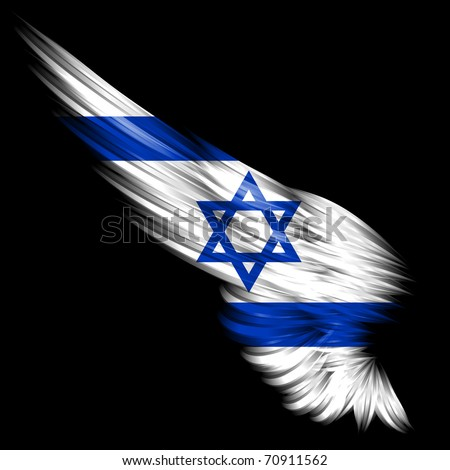The Abstract wing with Israel flag on black background - stock photo