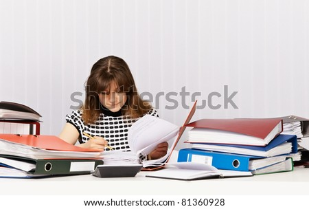 The accountant prepares for financial auditing in the office - stock photo