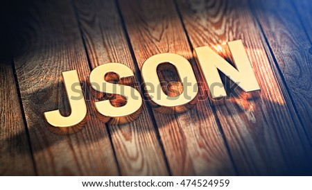 the acronym json is lined with gold letters on wooden planks 3d illustration