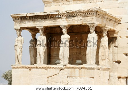 The acropolis: Erectheion, caryatids - stock photo