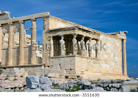 The acropolis of athens: caryatids at acropolis in greece - stock photo