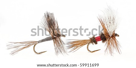 The Adams and Royal Wulff; Most Famous and Productive Fly-Fishing Flies for Trout - stock photo