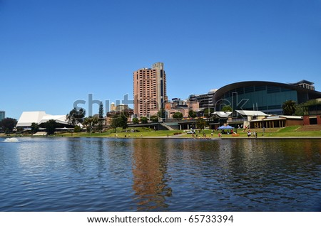 The Adelaide skyline as viewed from the River Torrens in South Australia. - stock photo