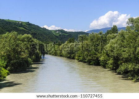 The Adige river near Bolzano (Trentino Alto Adige, Italy) at summer