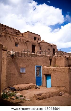 The adobe buildings at Taos Pueblo, New Mexico. - stock photo