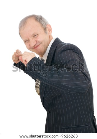 The adult businessman isolated on a white background - stock photo