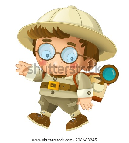 The adventurous scientist on the trip - happy illustration for children - stock photo