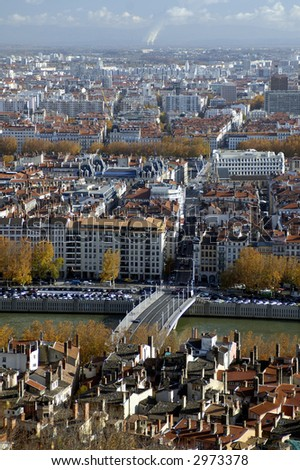 The aerial view at Lyon from Basilique de Fourviere hill. Lyon. France - stock photo