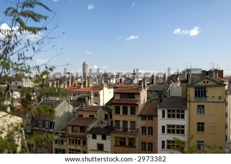The aerial view at Lyon` housetops from Basilique de Fourviere hill. Lyon. France - stock photo