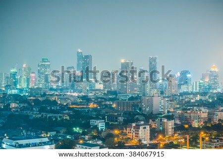 The aerial view of Bangkok skyline at night time. Major port in central Bangkok, Thailand