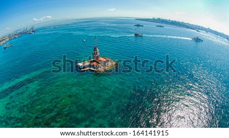 The aerial view of Maiden Tower - stock photo
