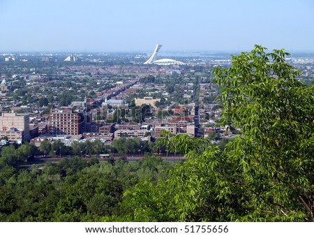 The aerial view of Montreal's Olympic Stadium - stock photo