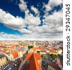 The aerial view of Munich city center from the tower of the Peterskirche - stock