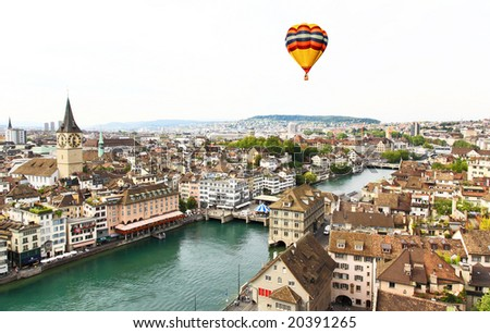 The aerial view of Zurich cityscape from the tower of famous Grossmunster Cathedral