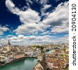 The aerial view of Zurich cityscape, Switzerland - stock photo