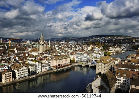 The aerial view of Zurich cityscape, Switzerland