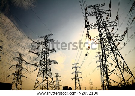 The afterglow of the transmission tower - stock photo