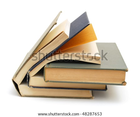 the aged textbooks - stock photo