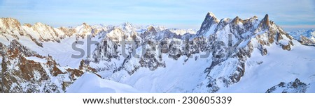 The Aiguille du Midi (3,842 m) is a mountain in the Mont Blanc massif in the French Alps - stock photo