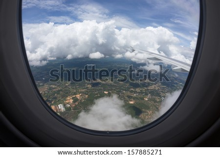 The air plane is flying - stock photo