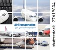 the air transport concept with the scene at airport. - stock photo
