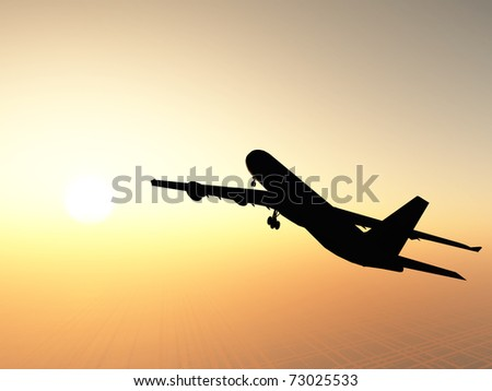 The airplane against a picturesque sunset - stock photo