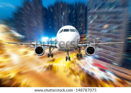 the airplane away from the city,abstract background