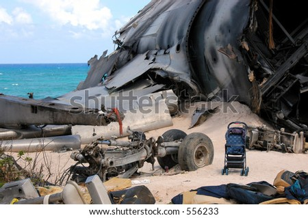 The airplane crash site set for ABC's hit show LOST on the North Shore of Oahu, Hawaii. - stock photo