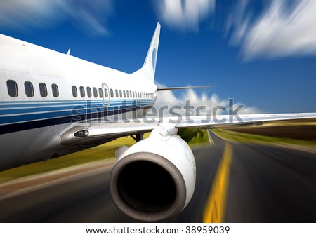 the airplane with the road background. - stock photo