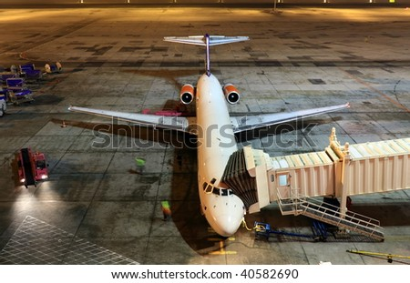 The airport by night - stock photo