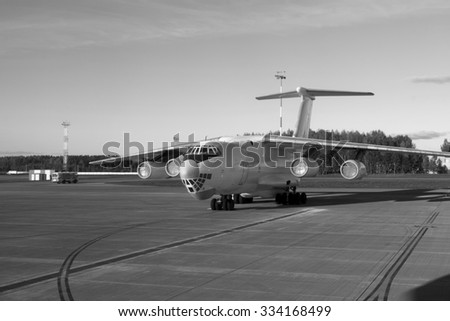 The airport. The airplane at the airport.  black and white photo