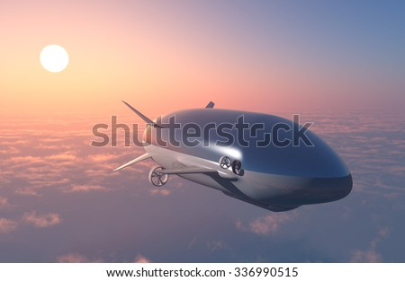 The airship above the clouds. - stock photo