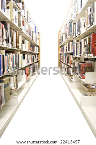 The aisles in a public library with shelves full of books - isolated over white. - stock photo