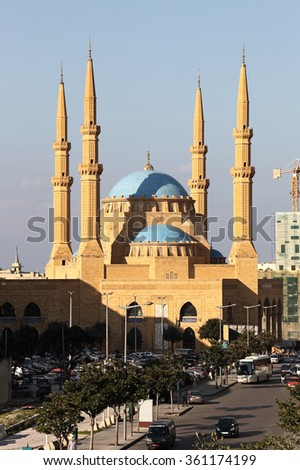 The Al Amine Mosque in Downtown Beirut - stock photo