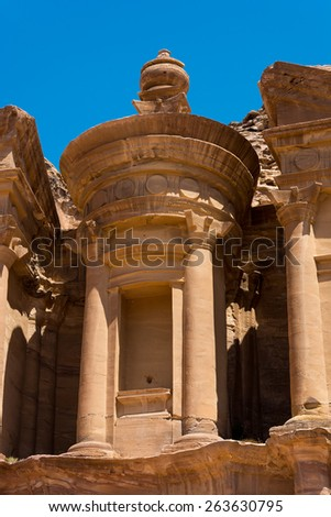 The al-Dayr tomb part of the Petra complex in Jordan - stock photo