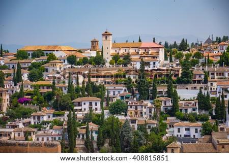 The Albaicin Neighborhood Seen From The Alhambra Palace in Granada, Spain - stock photo